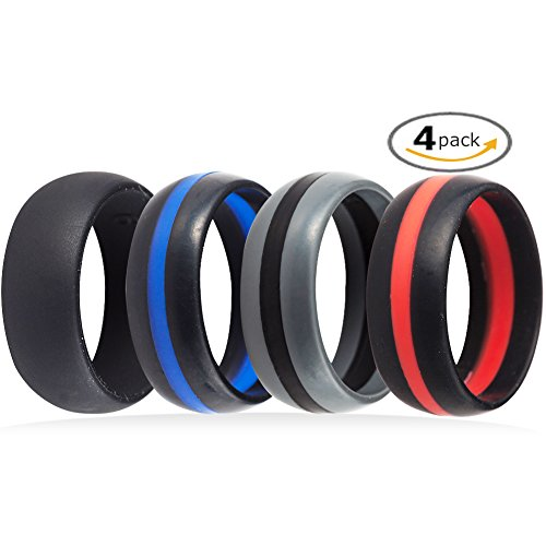 4 Pack Silicone Rubber Wedding Engagement Ring Sports Crossfit Gym Athletes Exercise (14)