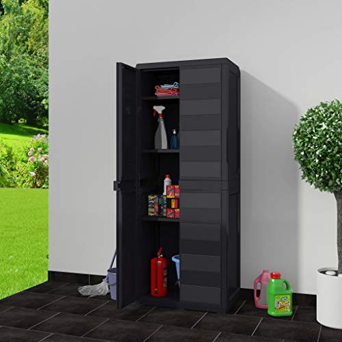 Tidyard Outdoor Garden Storage Shed Indoor Tall Utility Storage Cabinet with 3 Adjustable Shelves Tools Shed