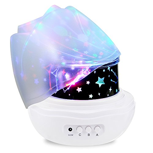 Slowton Stars Sky Night Light Lamp, Romantic Rose Shape with Color Changing Moon Stars Cosmos Rotating LED Nightlight Projector for Kids Gift Baby Girl Bedroom by SlowTon