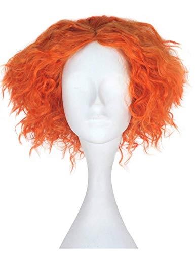 Morvally Short Curly Orange Wigs Unisex Heat Resistant Hair for Cosplay Costume Holloween Party -