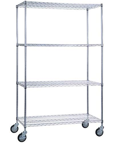 SafeRacks NSF Certified Commercial Grade Adjustable 4-Tier Steel Wire Shelving Rack with 4