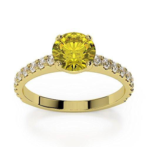 Or jaune 18carats 1CT G-H/VS sertie de diamants ronds Cut Saphir Jaune et bague de fiançailles Agdr-1201