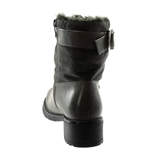 Grey Heel Boots Material Boots bi Fur Booty Women's Biker Buckle Angkorly Snow high Ankle 4 Block Studded Fashion cm Shoes qHxaIz