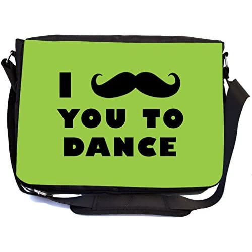 Rikki Knight I Mustache You To Dance Lime Green Color Design Multifunction Messenger Bag - School Bag - Laptop Bag - with padded insert for School or Work - includes Pencil Case