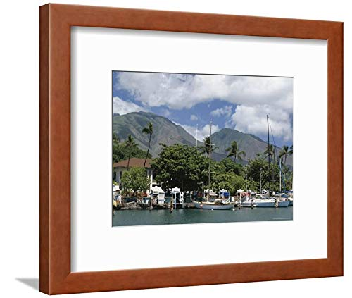 Boat Whaling (ArtEdge Sailing Boats in the Harbour Lahaina, an Old Whaling Station, West Coast, Hawaii Tony Waltham, Brown Framed Matted Wall Art Print, 9x12 in)