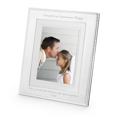 (Things Remembered Personalized Silver Beaded 8 x 10 Portrait Frame, Picture Frame with Engraving Included)