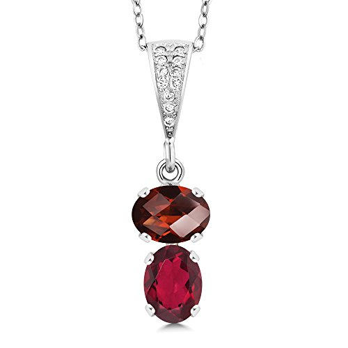 - Gem Stone King 2.77 Ct Oval Checkerboard Red Garnet Red Mystic Topaz 925 Silver Pendant