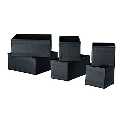 IKEA Set Of 6 Boxes Organiser, Keep Your Drawers Tidy - BLACK by Ikea