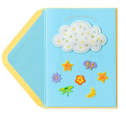 Papyrus Welcome New Baby Card Felt Cloud with Baby Icons -