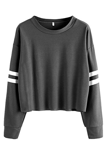 1f8d0a5d4655 SweatyRocks Women s Striped Long Sleeve Crewneck Crop Top Sweatshirt ...