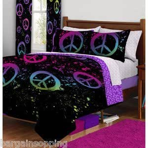 7pc Girl Black Pink Green Peace Sign Full Comforter Set (7pc Bed in a Bag)