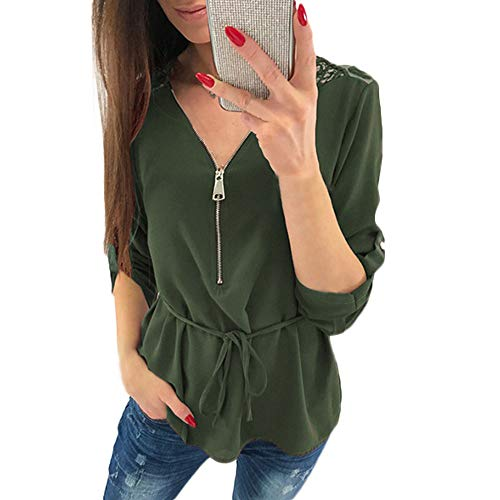 Clearance!HOSOME Women Zipper Shirt Lace Casual Ladies V