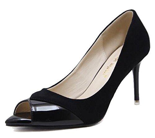 Scarpe Da Donna Eleganti Easemax In Ecopelle Scamosciata Con Tacco A