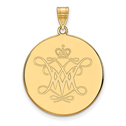 (Jewelry Stores Network College of William & Mary Tribe School Logo Disc Pendant Gold Plated Silver XL - (26 mm x 25 mm) )