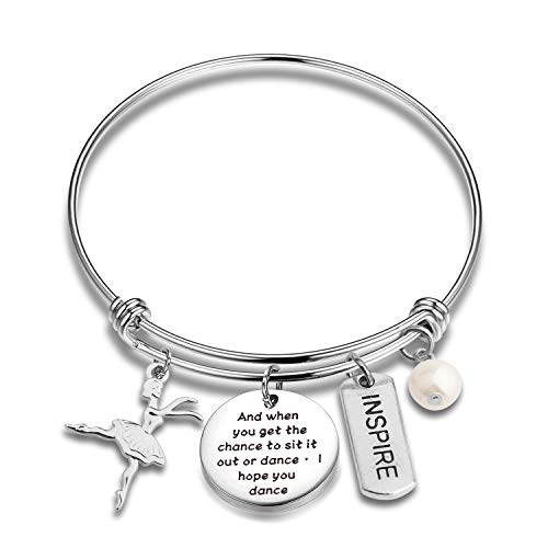 AKTAP Dance Bracelet Dancer Gift and You Get The Chance to Sit It Out Or Dance I Hope You Dance Dancing Girl Jewelry Ballerina Bracelet for Dancer,Dance Recital,Dance Teacher (Dancing Bracelet)