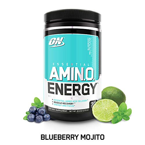 - OPTIMUM NUTRITION ESSENTIAL AMINO ENERGY, Blueberry Mojito, Keto Friendly BCAAs, Preworkout and Essential Amino Acids with Green Tea and Green Coffee Extract, 30 Servings