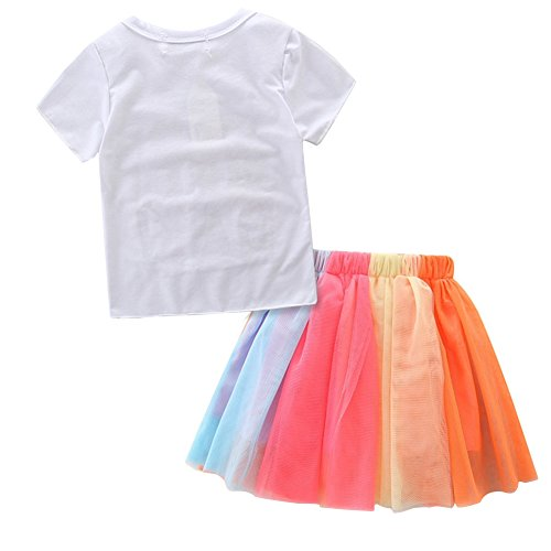 HBER 1-7T Baby Toddler Little Girls Birthday Clothes Letters T-Shirt + Colorful Rainbow Skirts Gift Outfits Set by HBER (Image #2)