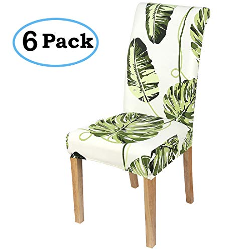 misaya Stretch Dining Room Chair Cover Spandex Removable Washable Tropical Monstera Printing Chair Slipcover for Kitchen, Set of 6, Style 2