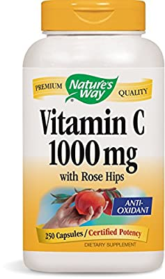 Nature's Way Vitamin C 1000 with Rose Hips, 250 Capsules
