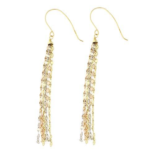 14k Yellow, White and Rose Gold Tri-Color Diamond Cut Multi-Strand Tassel Dangle Earrings