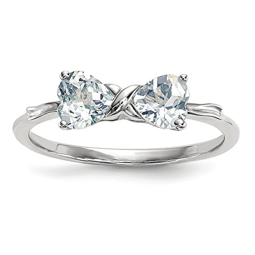 14k White Gold Blue Aquamarine Bow Band Ring Size 7.00 Set Birthstone March Fine Jewelry Gifts For Women For Her