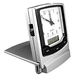 Travel Alarm Clock with Dual Display (Analog/Digital).
