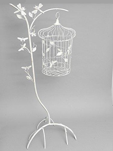 Decorativo pie marfil Metal blanco jaula de pájaros y soporte ...