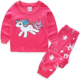 Pijamas para niñas Unicornio Lindo Manga Larga algodón niña Ropa 3 ...