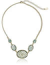 "1928 Jewelry ""Aqua Verde"" Gold-Tone Light Aqua Oval Faceted Collar Necklace, 16"""