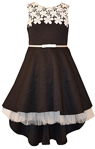 Bonnie Jean Big Girls 7-16 Sleeveless Lace belted High low Dress - Black Party Dress (14, (Tween Party Dress)