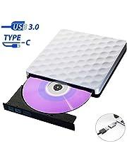Unità DVD/CD Esterno USB 3.0 Masterizzatore DVD CD Esterno Type-C Lettore CD Esterno Ultra Slim External Disc per PC Windows7/8/10/XP/Vista/Mac OS