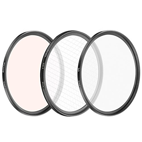 Soft Focus Effect - Neewer 3 Pieces 52mm Filter Lens System Special Effect, Soft Focus/Rotation Point 4 Stars/Heating Filters for Nikon DSLR Cameras with 18-55mm 55-200mm Lens
