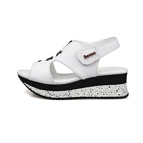 AmoonyFashion Womens Soft Material Kitten-Heels Hook-and-loop Peep-Toe Sandals White