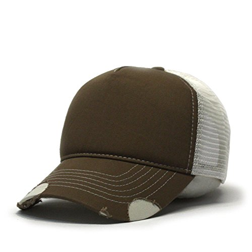 (Vintage Year Plain Cotton Twill Mesh Adjustable Snapback Low Profile Trucker Baseball Cap (Various Colors) (Distressed)