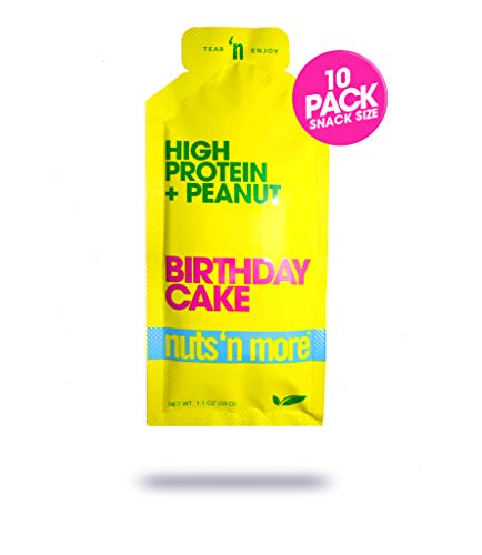 Nuts 'N More Birthday Cake Peanut Spread, High Protein Nut Butter Snack, Low Carb, Low Sugar, Gluten-Free, All Natural,10-Pack Snack Size