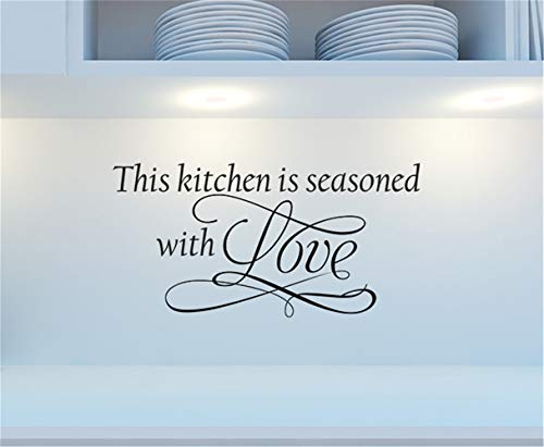 bailan Vinyl Wall Decal Wall Stickers Art Decor Peel and Stick Mural Removable Decals This Kitchen is Seasoned with Love for Kitchen -