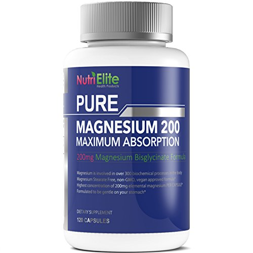 Time Released Vegetarian 250 Tabs (NutriElite Pure Magnesium Glycinate Chelate (as Bisglycinate) - 200mg of High Absorption Chelated Mag Supplement ( 400 mg Daily) - Easy To Swallow Capsules (Not Tablets) - 120 Caps)