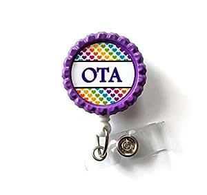 Ota Rainbow Polka Dot - Fun Badge Reels - Nursing Badge - Ota Badge - Medical Badge Reels - Occupational Therapy Badge Holder