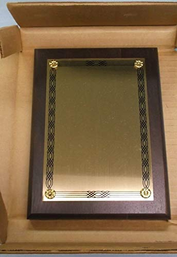 Trophy Parts 6x8 Plaque Solid American Walnut Blank Gold Brass Plate ()