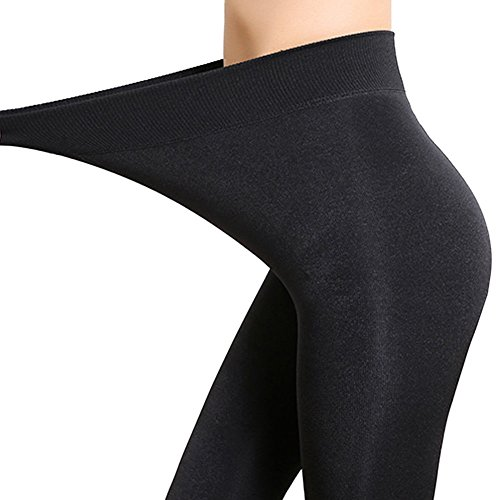 Cashmere Wool Leggings For Women - High Waisted Sexy Black Full Fleece Lining Super Thick & Stretchy - Perfect For Autumn or Winter (L) (XL, Sexy Black) (Leggings Wool Cotton)