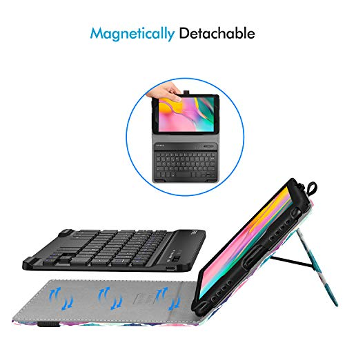 Fintie Folio Keyboard Case for Samsung Galaxy Tab A 8.0 2019 Without S Pen Model (SM-T290 Wi-Fi, SM-T295 LTE), Premium PU Leather Stand Cover w/Removable Wireless Bluetooth Keyboard, Moroccan Love