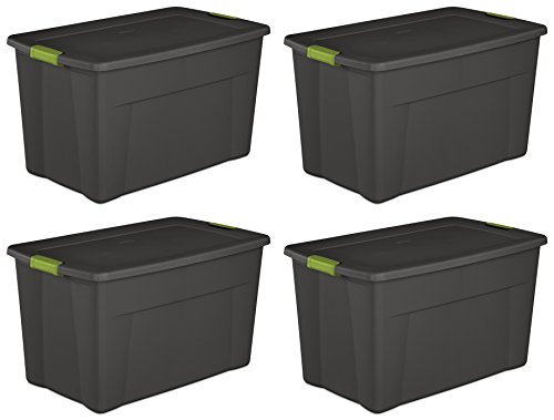 Sterilite 19453V04 35 Gallon/ 132 Liter Latch Tote, Flat Gray Lid & Base w/ Soft Fern Latches, 4-Pack by STERILITE
