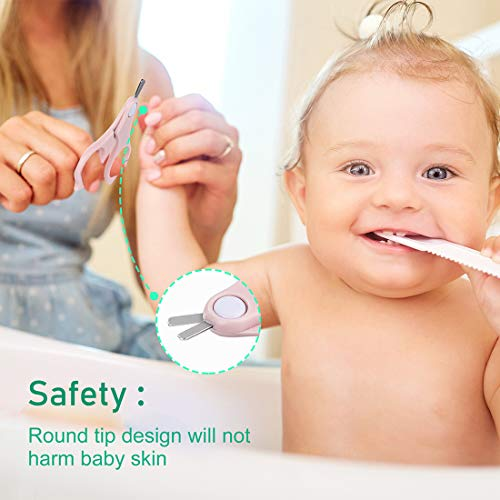 LIVEBAY Baby Nail Clipper, 4-in-1 Baby Manicure Kit with Stainless Steel Baby Nail Clippers, Scissor, Nail File & Tweezer Pedicure kit for Newborn, Infant & Toddler (Pink)