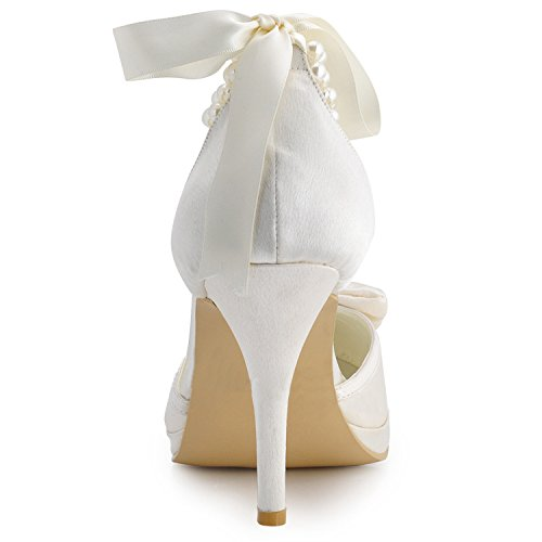 Minishion MZ610 Womens Round Toe Stiletto Heel Ankle Strap Ribbon Bridal Wedding Satin Pump Shoes Ivory-10cm Heel Df0eAjSU