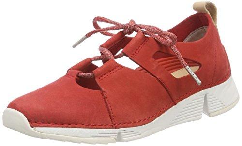 Femme Rouge Sense Sneakers red Tri Basses Clarks Nubuck 5nHqwWXIwx