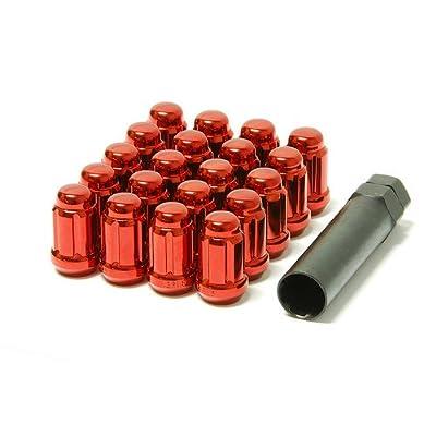 Muteki 41885R Chrome Red 12mm x 1.25mm Closed End Spline Drive Lug Nut Set with Key, (Set of 20): Automotive [5Bkhe0908233]