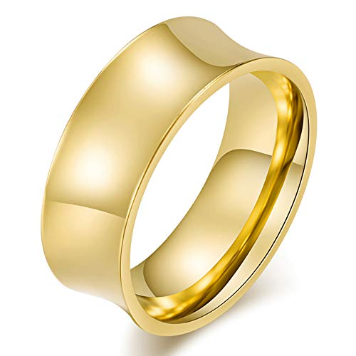 Men's Stainless Steel Concave Arc Surface Polished Ring, 8mm Wedding Band, Gold Color, Size 8, 3q5050s08 ()