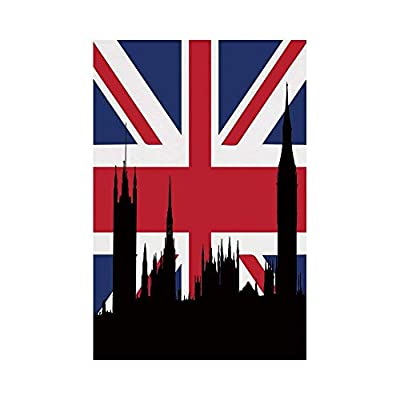 Polyester Garden Flag Outdoor Flag House Flag Banner,Union Jack,Houses of the Parliament Silhouette on UK Flag Historic Urban Skyline,Royal Blue Black Red,for Wedding Anniversary Home Outdoor Garden D