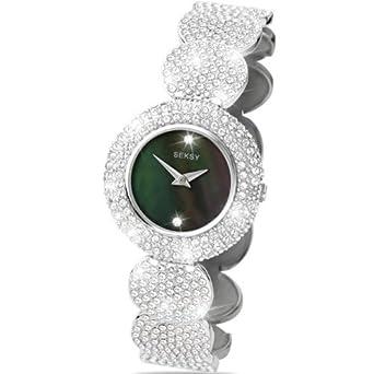 Seksy Elegance Von Sekonda Damenuhr – schwarz Perlmutt Zifferblatt – SWAROVSKI® Kristall – Edelstahl Silber Armband