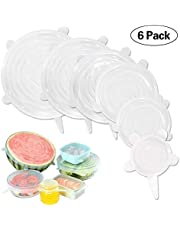 Tapas elásticas de silicona, GLURIZ 6 Piezas envoltura plástica reutilizable alternativa, fundas de ahorro, Coberturas de comida para cubetas y recipientes de almacenamiento